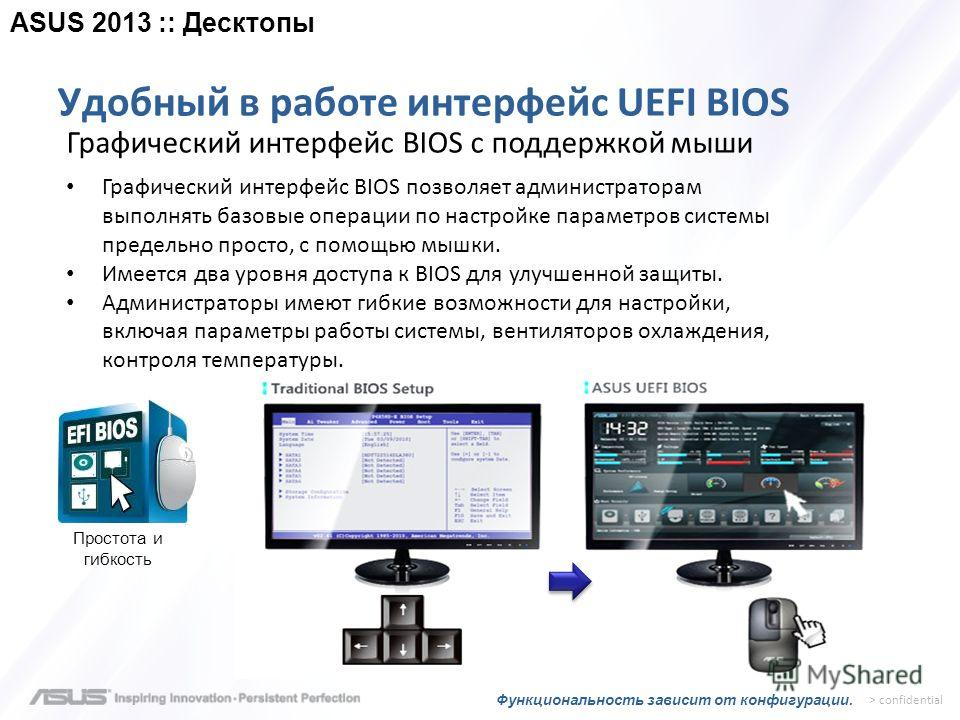 > confidential Удобный в работе интерфейс UEFI BIOS Простота и гибкость Графический интерфейс BIOS с поддержкой мыши Графический интерфейс BIOS позволяет администраторам выполнять базовые операции по настройке параметров системы предельно просто, с п