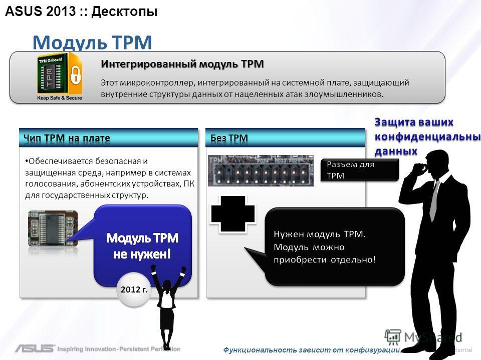 > confidential Модуль TPM Интегрированный модуль TPM Этот микроконтроллер, интегрированный на системной плате, защищающий внутренние структуры данных от нацеленных атак злоумышленников. Обеспечивается безопасная и защищенная среда, например в система