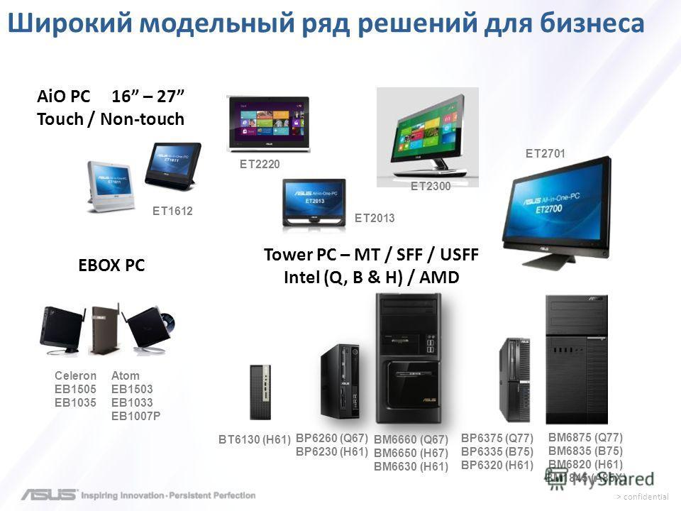 > confidential Tower PC – MT / SFF / USFF Intel (Q, B & H) / AMD Atom EB1503 EB1033 EB1007P Широкий модельный ряд решений для бизнеса BP6260 (Q67) BP6230 (H61) BM6875 (Q77) BM6835 (B75) BM6820 (H61) BM1845 (A85X) AiO PC 16 – 27 Touch / Non-touch ET16