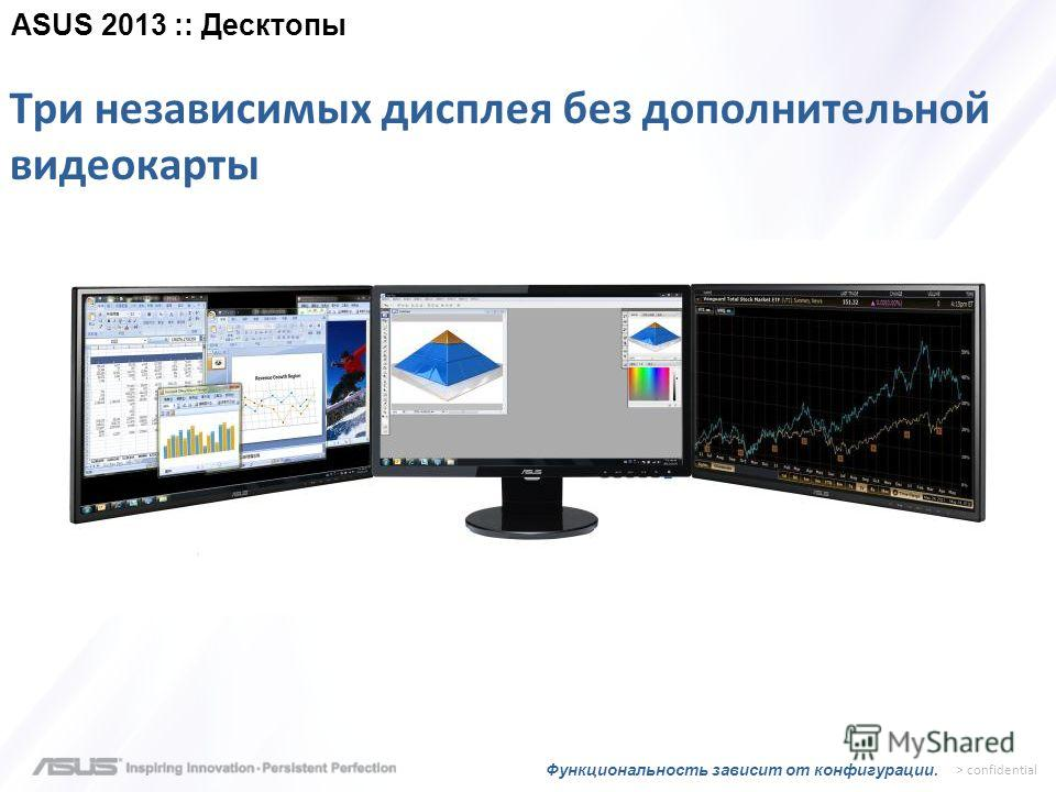 > confidential Три независимых дисплея без дополнительной видеокарты Функциональность зависит от конфигурации. ASUS 2013 :: Десктопы