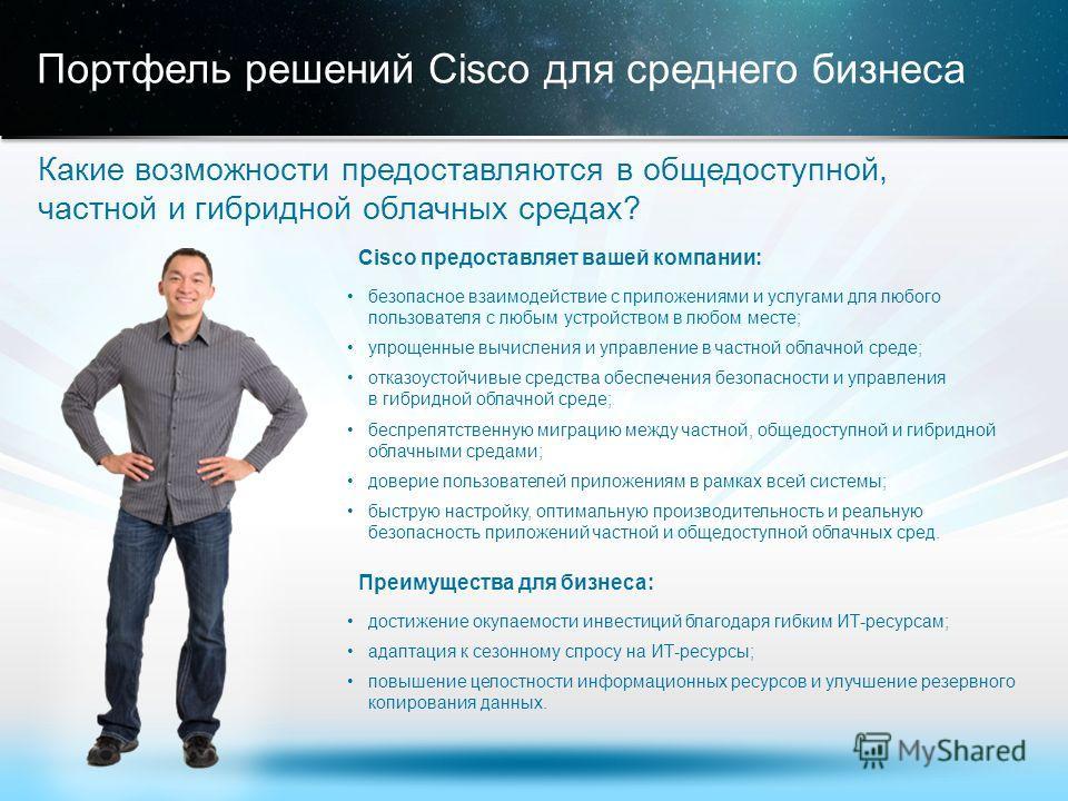 © Корпорация Cisco и/или ее дочерние компании, 2013. Все права защищены. Конфиденциальная информация корпорации Cisco 18 Портфель решений Cisco для среднего бизнеса Какие возможности предоставляются в общедоступной, частной и гибридной облачных среда