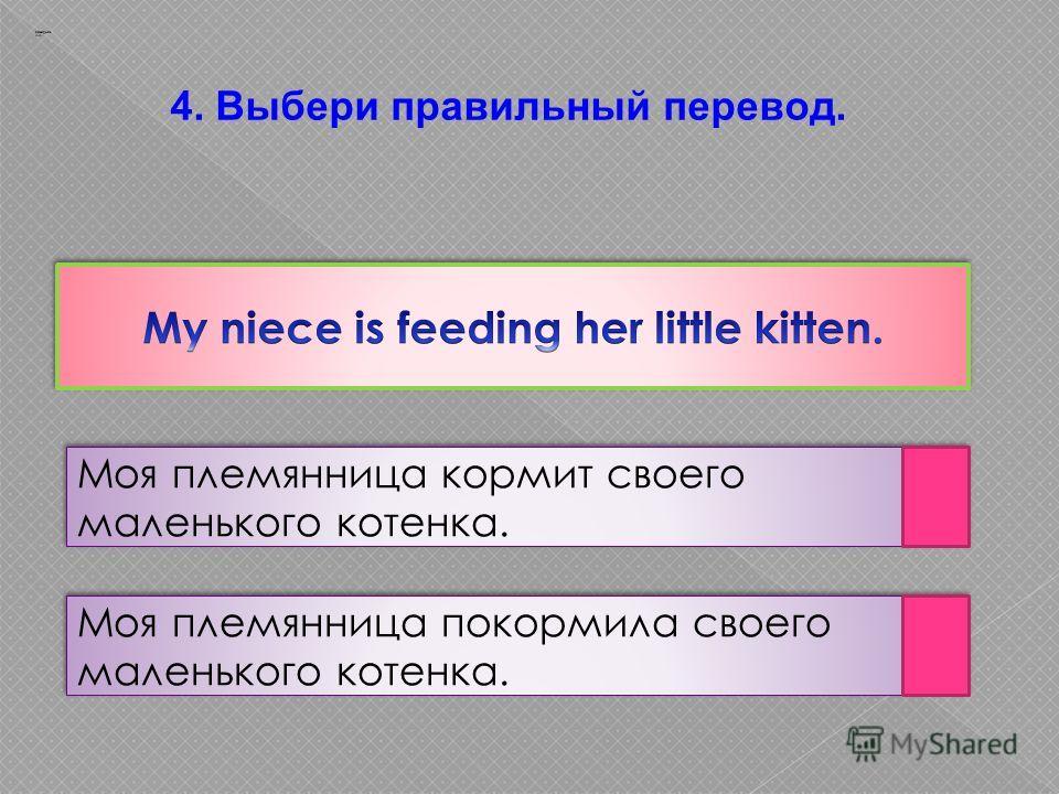4. Выбери правильный перевод. Моя племянница кормит своего маленького котенка. Моя племянница покормила своего маленького котенка. Заварцев А.А.