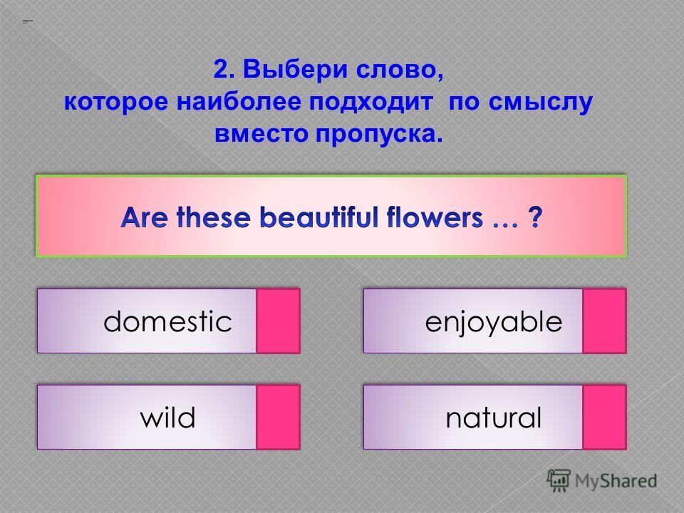 2. Выбери слово, которое наиболее подходит по смыслу вместо пропуска. domestic natural wild enjoyable Заварцев А.А.