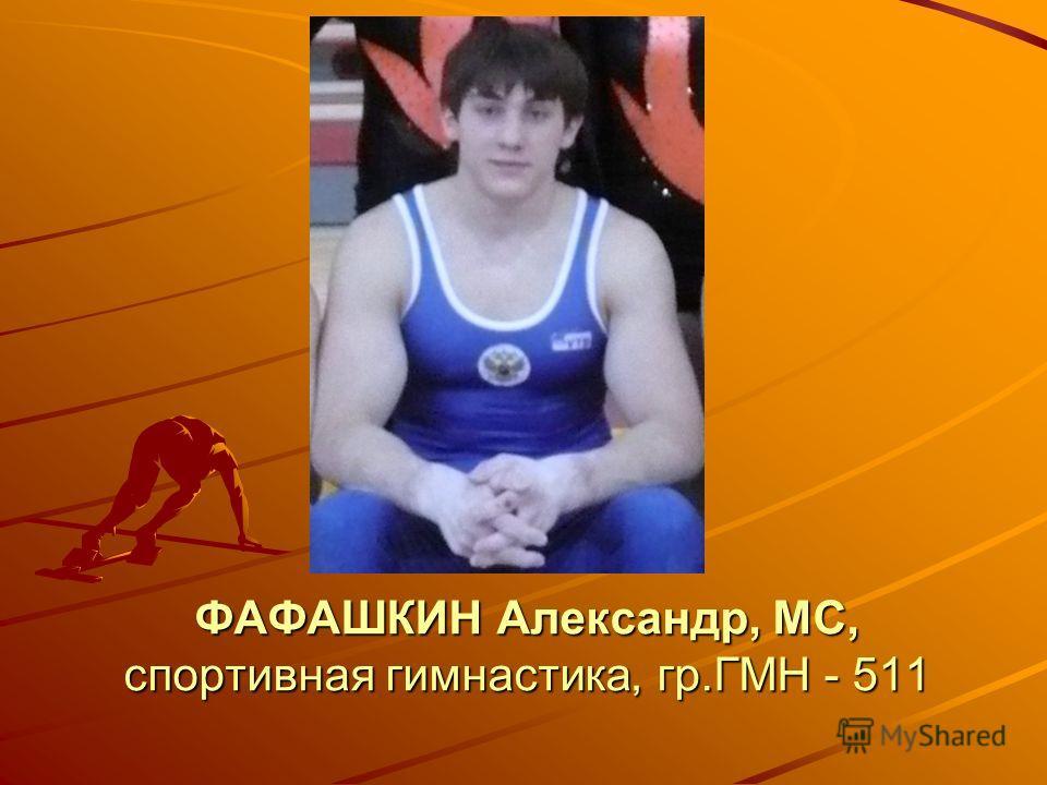 ФАФАШКИН Александр, МС, спортивная гимнастика, гр.ГМН - 511