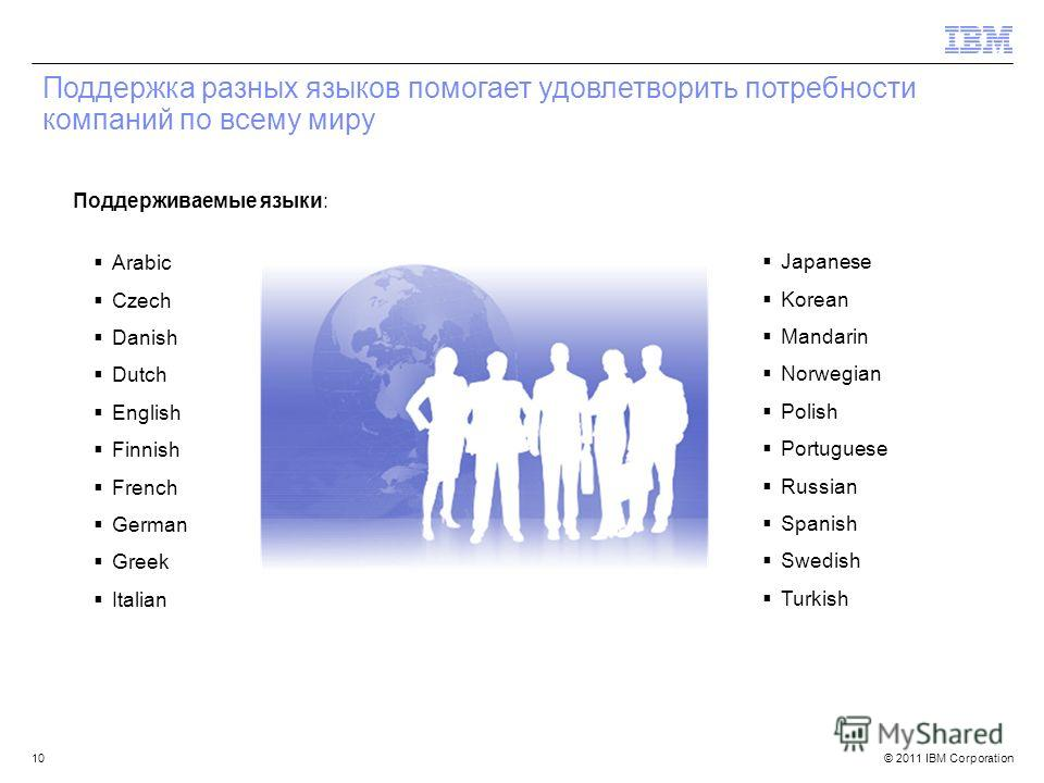 © 2011 IBM Corporation Поддержка разных языков помогает удовлетворить потребности компаний по всему миру Arabic Czech Danish Dutch English Finnish French German Greek Italian Japanese Korean Mandarin Norwegian Polish Portuguese Russian Spanish Swedis