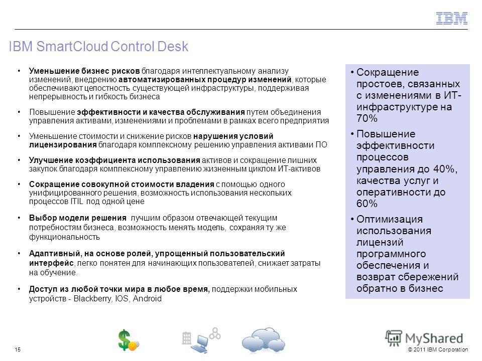 © 2011 IBM Corporation IBM SmartCloud Control Desk 15 Уменьшение бизнес рисков благодаря интеллектуальному анализу изменений, внедрению автоматизированных процедур изменений, которые обеспечивают целостность существующей инфраструктуры, поддерживая н
