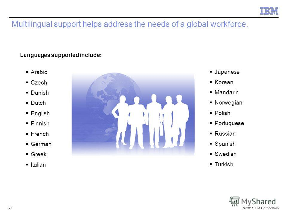 © 2011 IBM Corporation Multilingual support helps address the needs of a global workforce. Arabic Czech Danish Dutch English Finnish French German Greek Italian Japanese Korean Mandarin Norwegian Polish Portuguese Russian Spanish Swedish Turkish Lang