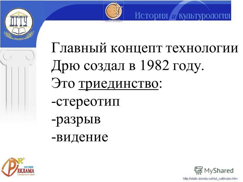 Главный концепт технологии Дрю создал в 1982 году. Это триединство: -стереотип -разрыв -видение
