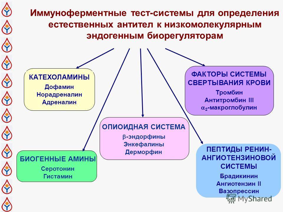 Иммуноферментные тест-системы для определения естественных антител к низкомолекулярным эндогенным биорегуляторам КАТЕХОЛАМИНЫ Дофамин Норадреналин Адреналин БИОГЕННЫЕ АМИНЫ Серотонин Гистамин ОПИОИДНАЯ СИСТЕМА -эндорфины Энкефалины Дерморфин ФАКТОРЫ
