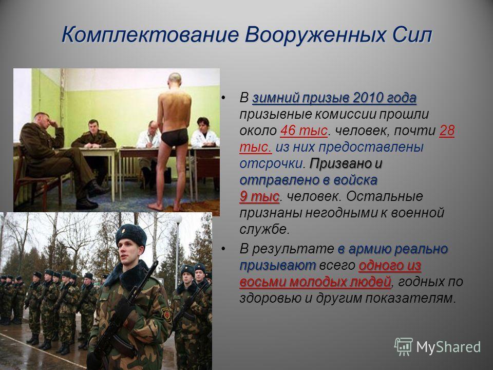 Комплектование Вооруженных Сил зимний призыв 2010 года Призвано и отправлено в войска 9 тысВ зимний призыв 2010 года призывные комиссии прошли около 46 тыс. человек, почти 28 тыс. из них предоставлены отсрочки. Призвано и отправлено в войска 9 тыс. ч