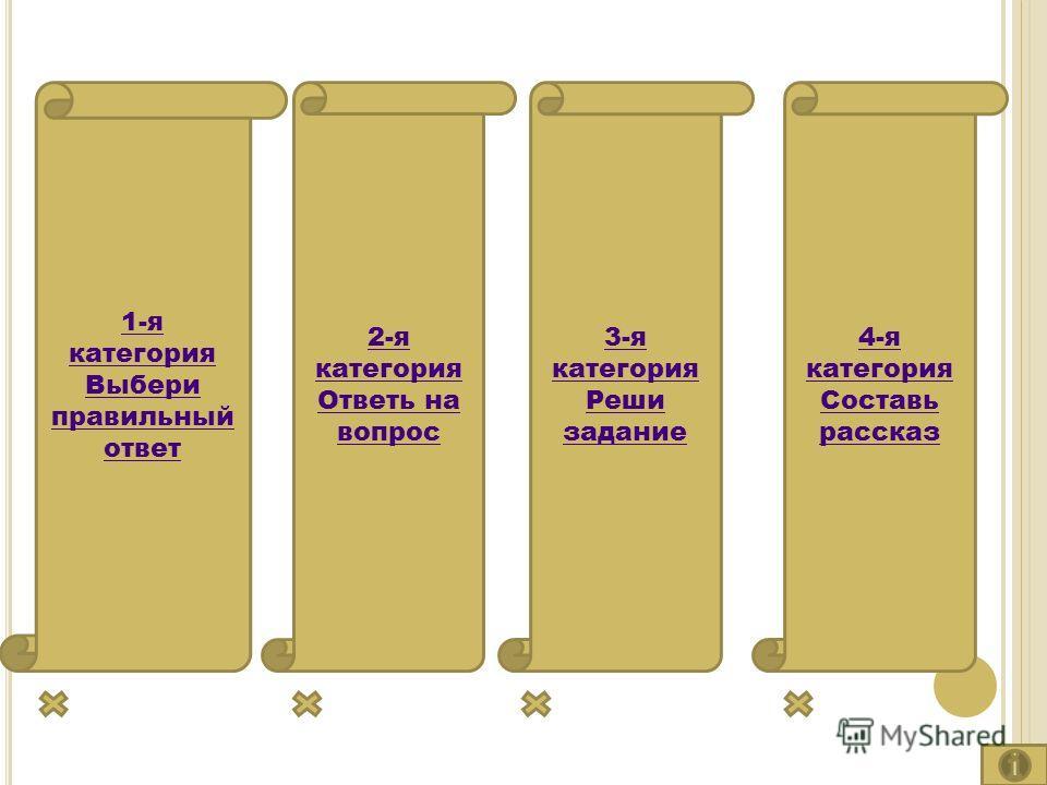 1-я категория Выбери правильный ответ 2-я категория Ответь на вопрос 3-я категория Реши задание 4-я категория Составь рассказ