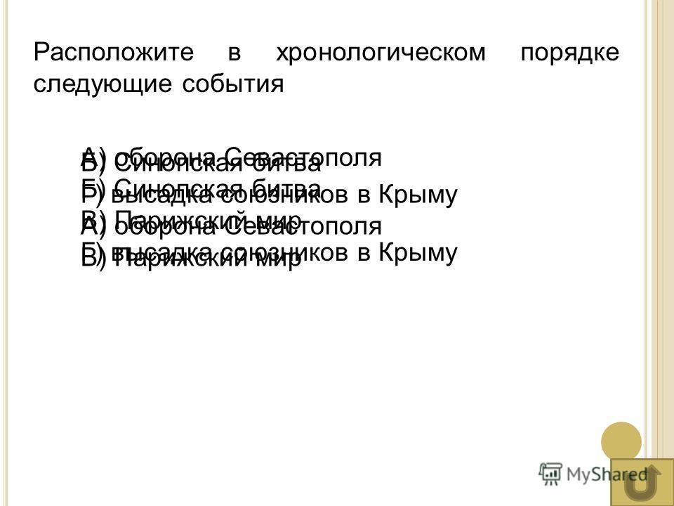 Расположите в хронологическом порядке следующие события А) оборона Севастополя Б) Синопская битва В) Парижский мир Г) высадка союзников в Крыму Б) Синопская битва Г) высадка союзников в Крыму А) оборона Севастополя В) Парижский мир