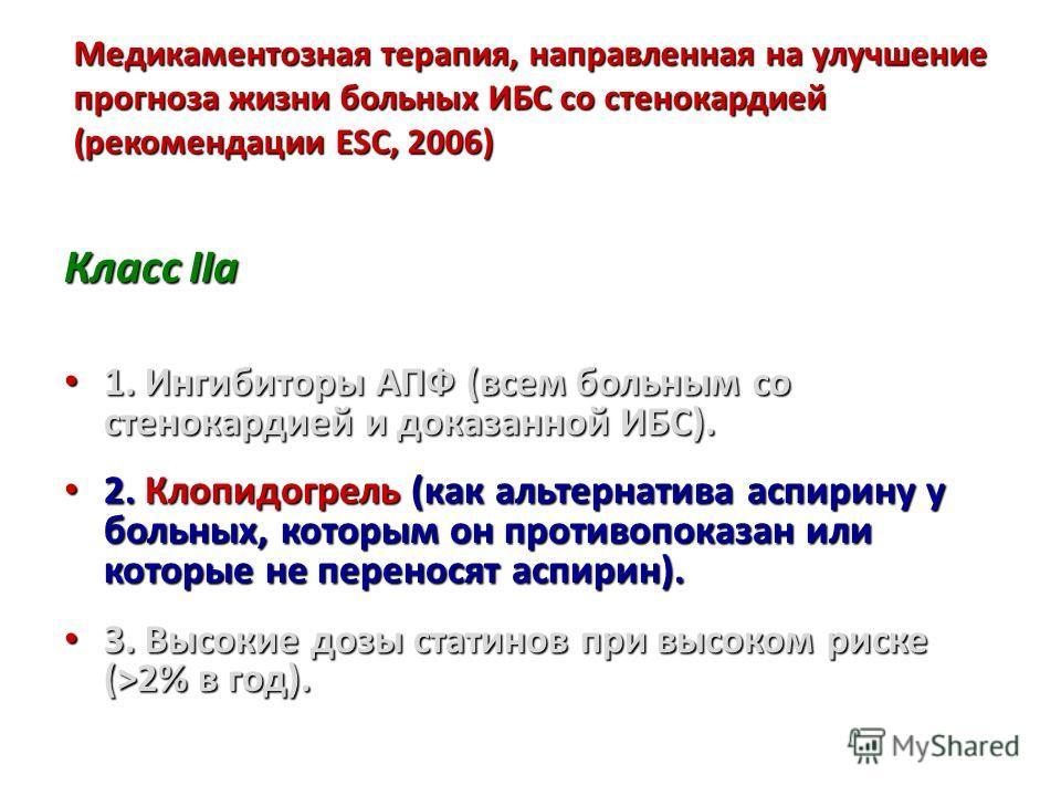 Медикаментозная терапия, направленная на улучшение прогноза жизни больных ИБС со стенокардией (рекомендации ESC, 2006) Класс IIa 1. Ингибиторы АПФ (всем больным со стенокардией и доказанной ИБС). 1. Ингибиторы АПФ (всем больным со стенокардией и дока