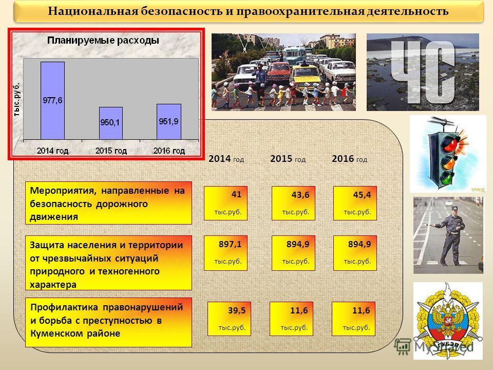 Национальная безопасность и правоохранительная деятельность Мероприятия, направленные на безопасность дорожного движения 2014 год 41 тыс.руб. 2016 год 2015 год 43,6 тыс.руб. 45,4 тыс.руб. Защита населения и территории от чрезвычайных ситуаций природн