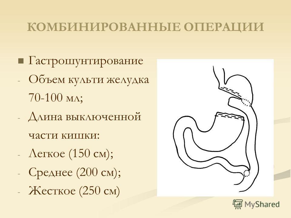 КОМБИНИРОВАННЫЕ ОПЕРАЦИИ Гастрошунтирование - - Объем культи желудка 70-100 мл; - - Длина выключенной части кишки: - - Легкое (150 см); - - Среднее (200 см); - - Жесткое (250 см)