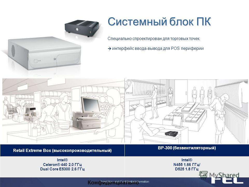 Конфиденциально Системный блок ПК Retail Extreme Box (высокопроизводительный) BP-300 (безвентиляторный) Intel® Celeron® 440 2.0 ГГц Dual Core E5300 2.6 ГГц Intel® N455 1.66 ГГц/ D525 1.8 ГГц Специально спроектирован для торговых точек интерфейс ввода