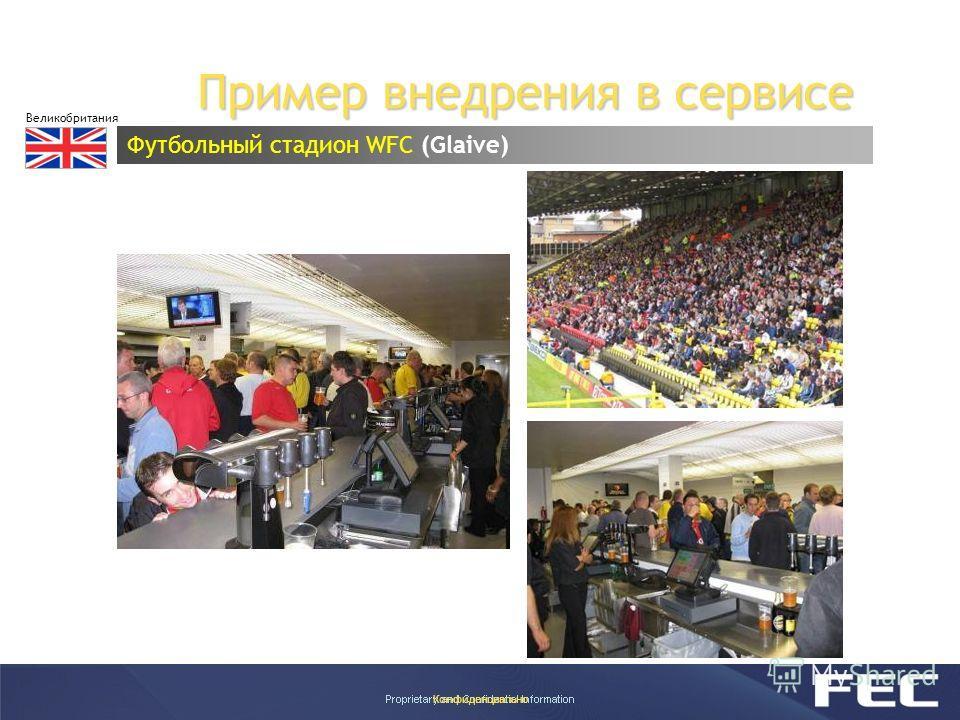 Конфиденциально Пример внедрения в сервисе Футбольный стадион WFC (Glaive) Великобритания