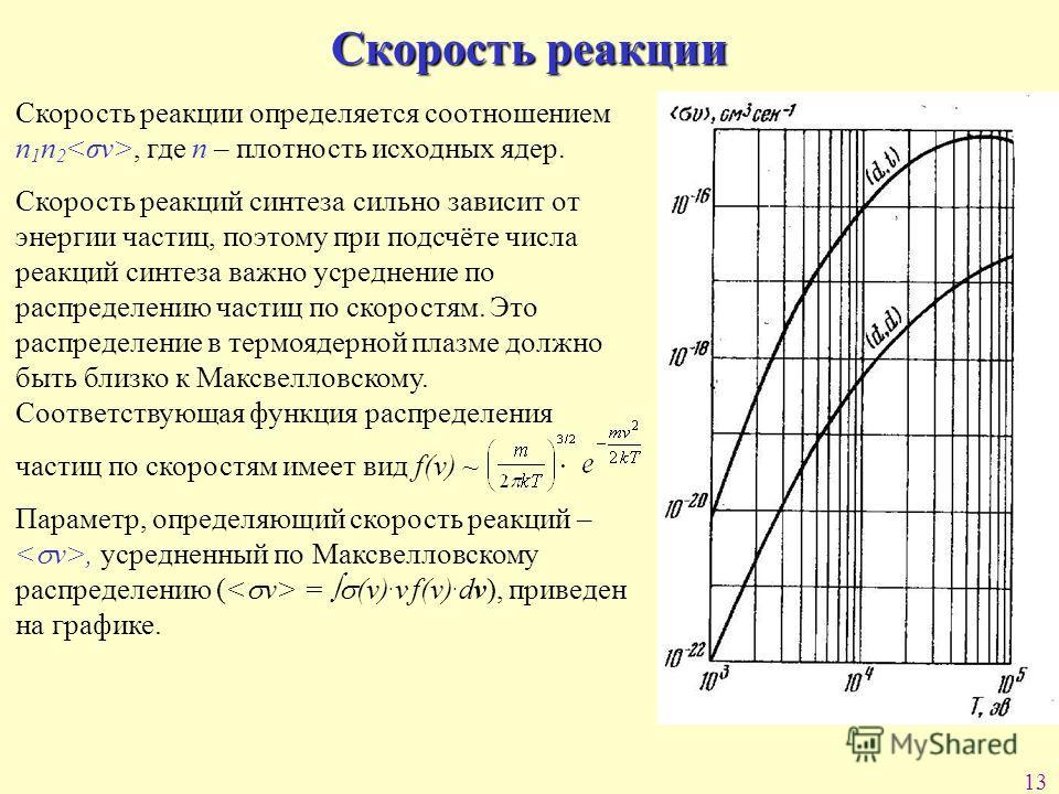 13 Скорость реакции Скорость реакции определяется соотношением n 1 n 2, где n – плотность исходных ядер. Скорость реакций синтеза сильно зависит от энергии частиц, поэтому при подсчёте числа реакций синтеза важно усреднение по распределению частиц по