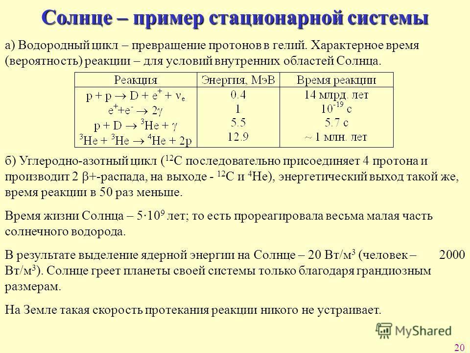 20 Солнце – пример стационарной системы а) Водородный цикл – превращение протонов в гелий. Характерное время (вероятность) реакции – для условий внутренних областей Солнца. б) Углеродно-азотный цикл ( 12 С последовательно присоединяет 4 протона и про