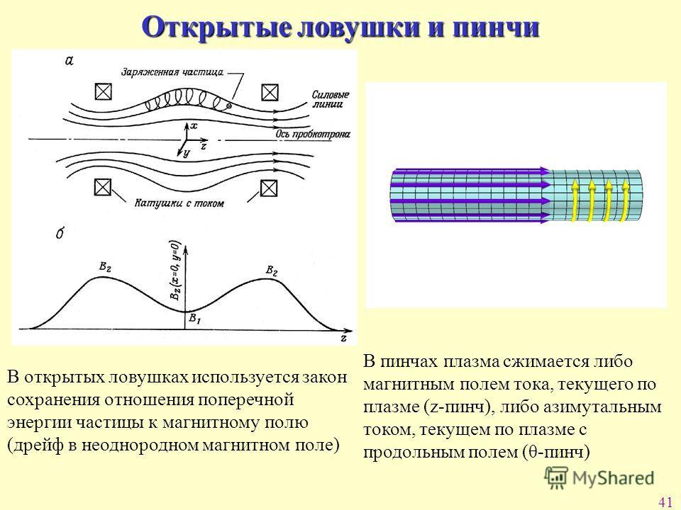 41 Открытые ловушки и пинчи В открытых ловушках используется закон сохранения отношения поперечной энергии частицы к магнитному полю (дрейф в неоднородном магнитном поле) В пинчах плазма сжимается либо магнитным полем тока, текущего по плазме (z-пинч