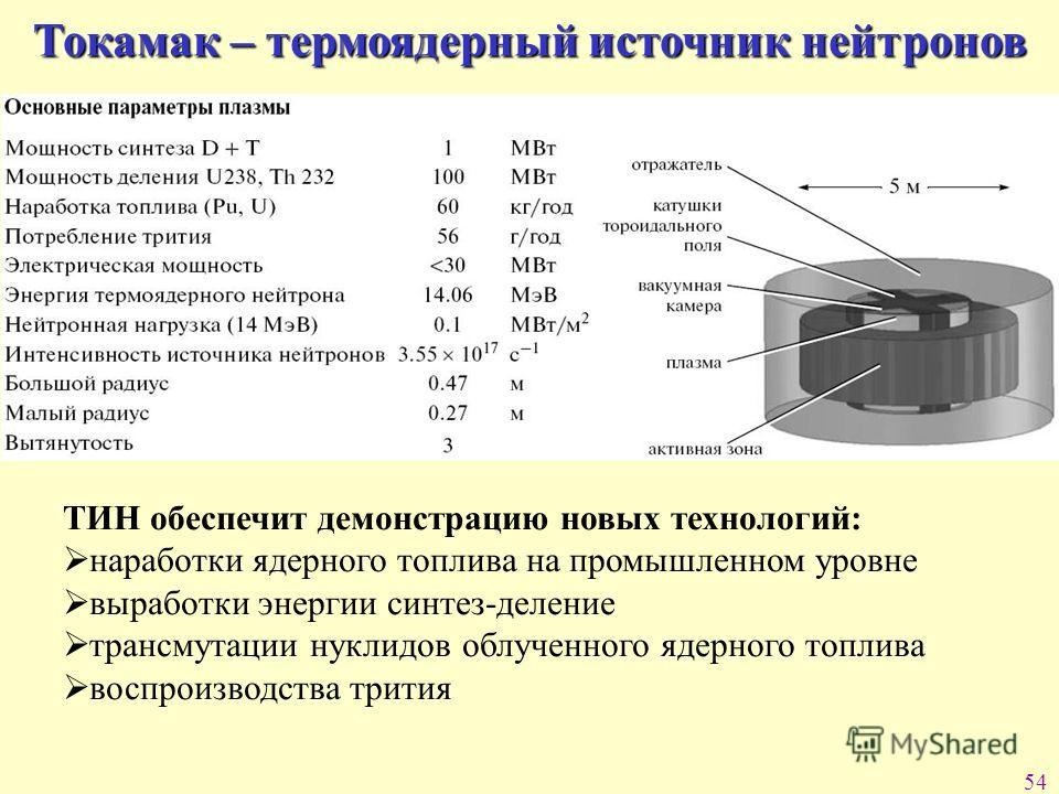 54 Токамак – термоядерный источник нейтронов ТИН обеспечит демонстрацию новых технологий: наработки ядерного топлива на промышленном уровне выработки энергии синтез-деление трансмутации нуклидов облученного ядерного топлива воспроизводства трития