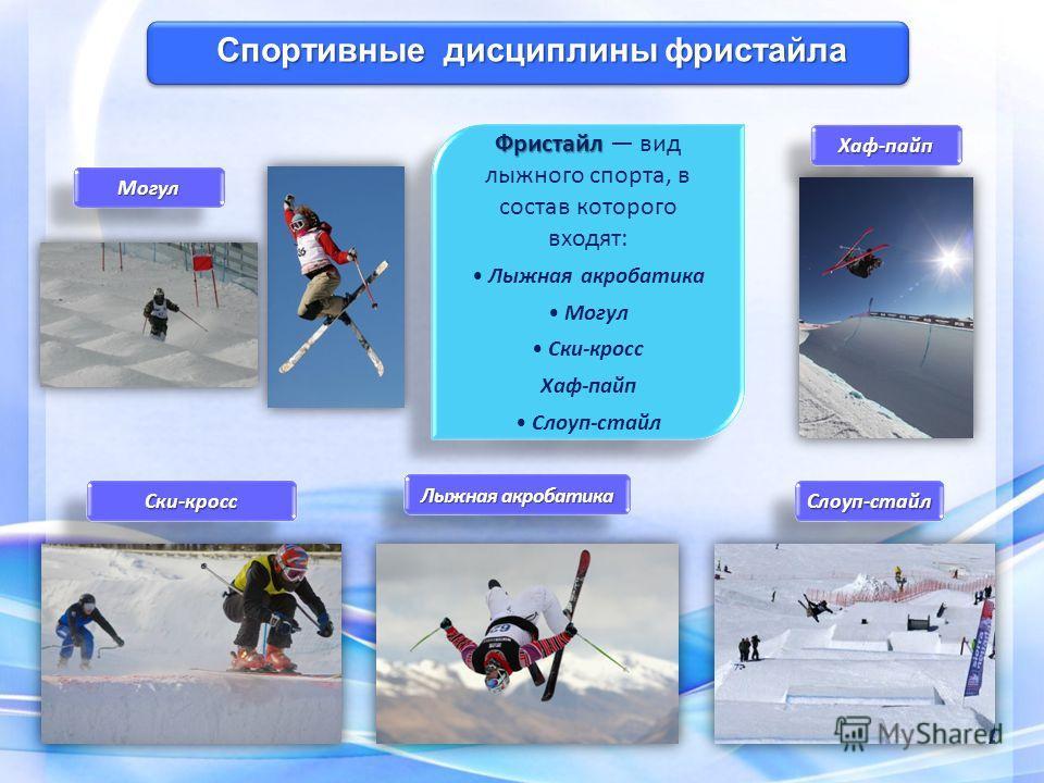 Фристайл Фристайл вид лыжного спорта, в состав которого входят: Лыжная акробатика Могул Ски-кросс Хаф-пайп Слоуп-стайл Фристайл Фристайл вид лыжного спорта, в состав которого входят: Лыжная акробатика Могул Ски-кросс Хаф-пайп Слоуп-стайл Спортивные д