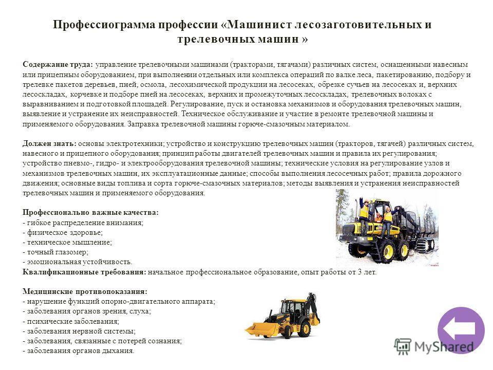 Профессиограмма профессии «Машинист лесозаготовительных и трелевочных машин » Содержание труда: управление трелевочными машинами (тракторами, тягачами) различных систем, оснащенными навесным или прицепным оборудованием, при выполнении отдельных или к