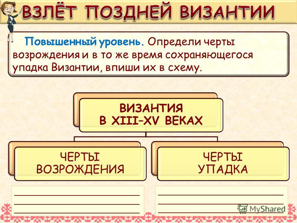 Повышенный уровень. Определи черты возрождения и в то же время сохраняющегося упадка Византии, впиши их в схему. ВИЗАНТИЯ В XIII–XV ВЕКАХ ВИЗАНТИЯ В XIII–XV ВЕКАХ ЧЕРТЫ ВОЗРОЖДЕНИЯ ЧЕРТЫ УПАДКА ЧЕРТЫ УПАДКА ___________________________