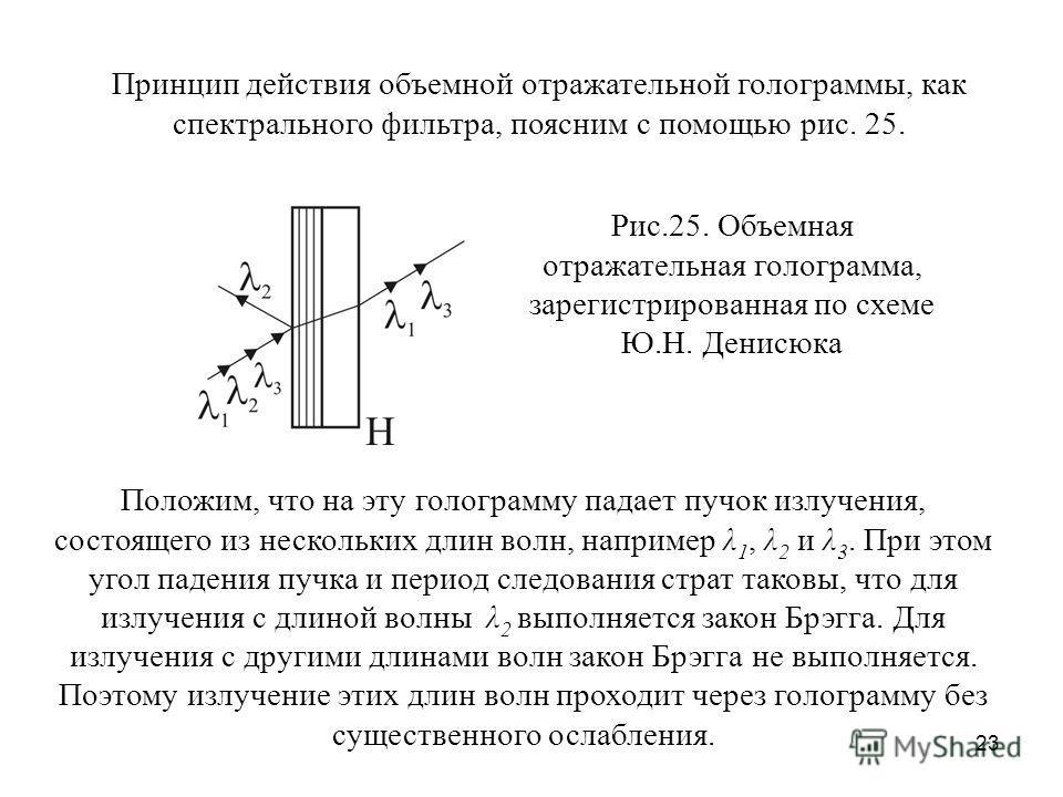 23 Принцип действия объемной отражательной голограммы, как спектрального фильтра, поясним с помощью рис. 25. Рис.25. Объемная отражательная голограмма, зарегистрированная по схеме Ю.Н. Денисюка Положим, что на эту голограмму падает пучок излучения, с
