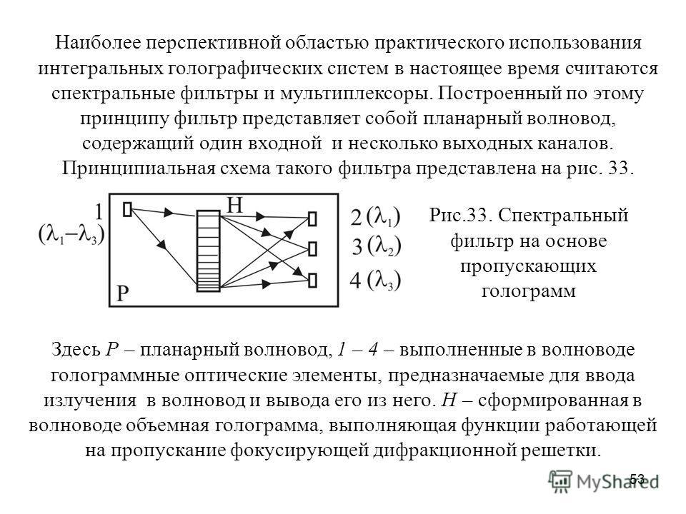 53 Наиболее перспективной областью практического использования интегральных голографических систем в настоящее время считаются спектральные фильтры и мультиплексоры. Построенный по этому принципу фильтр представляет собой планарный волновод, содержащ