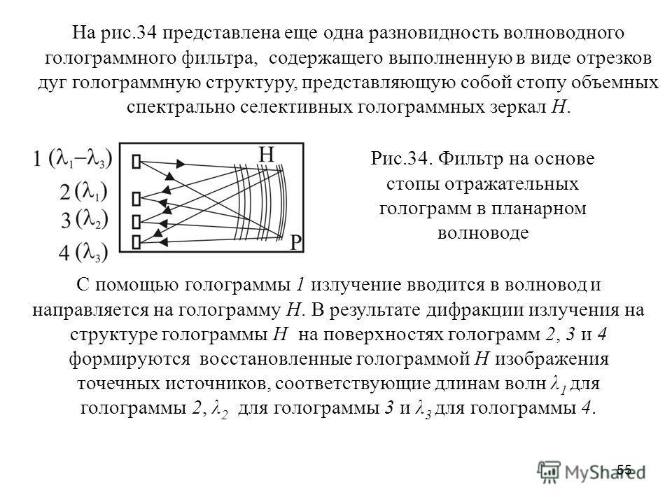 55 На рис.34 представлена еще одна разновидность волноводного голограммного фильтра, содержащего выполненную в виде отрезков дуг голограммную структуру, представляющую собой стопу объемных спектрально селективных голограммных зеркал H. Рис.34. Фильтр