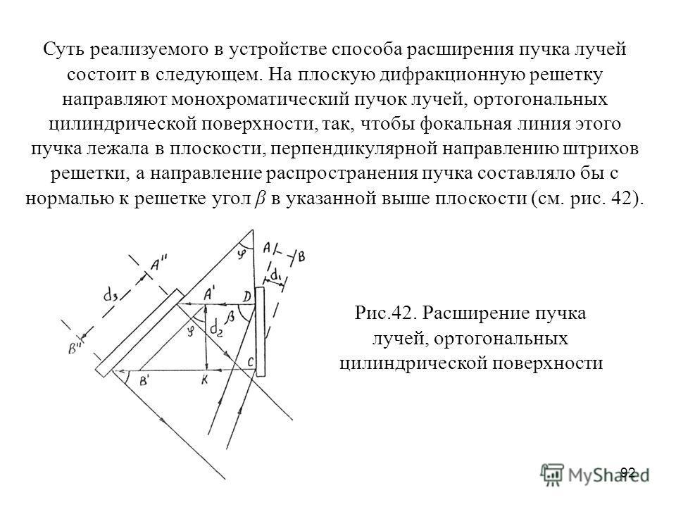 92 Суть реализуемого в устройстве способа расширения пучка лучей состоит в следующем. На плоскую дифракционную решетку направляют монохроматический пучок лучей, ортогональных цилиндрической поверхности, так, чтобы фокальная линия этого пучка лежала в