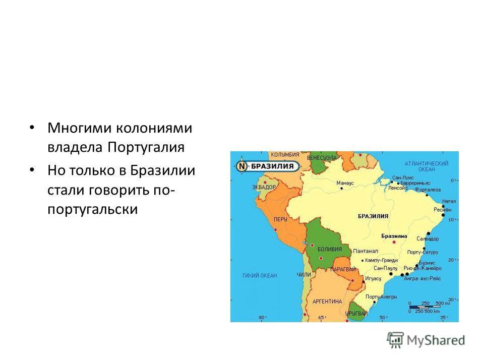 Многими колониями владела Португалия Но только в Бразилии стали говорить по- португальски