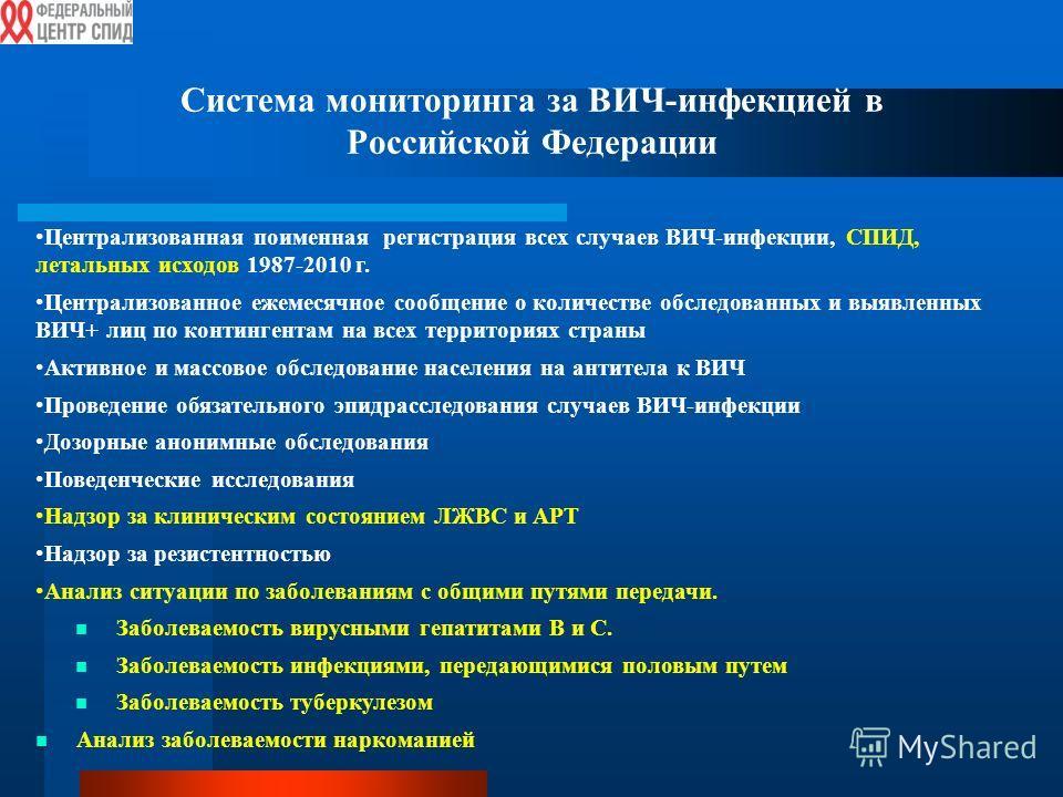 Система мониторинга за ВИЧ-инфекцией в Российской Федерации Централизованная поименная регистрация всех случаев ВИЧ-инфекции, СПИД, летальных исходов 1987-2010 г. Централизованное ежемесячное сообщение о количестве обследованных и выявленных ВИЧ+ лиц