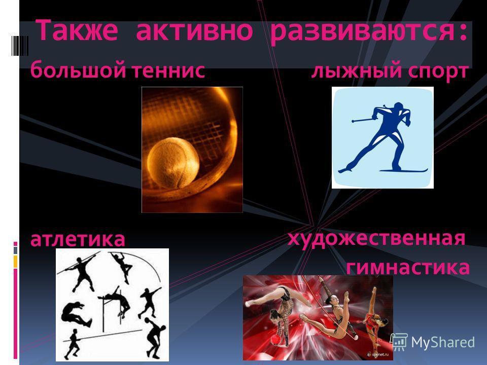 Также активно развиваются: большой теннислыжный спорт атлетика художественная гимнастика