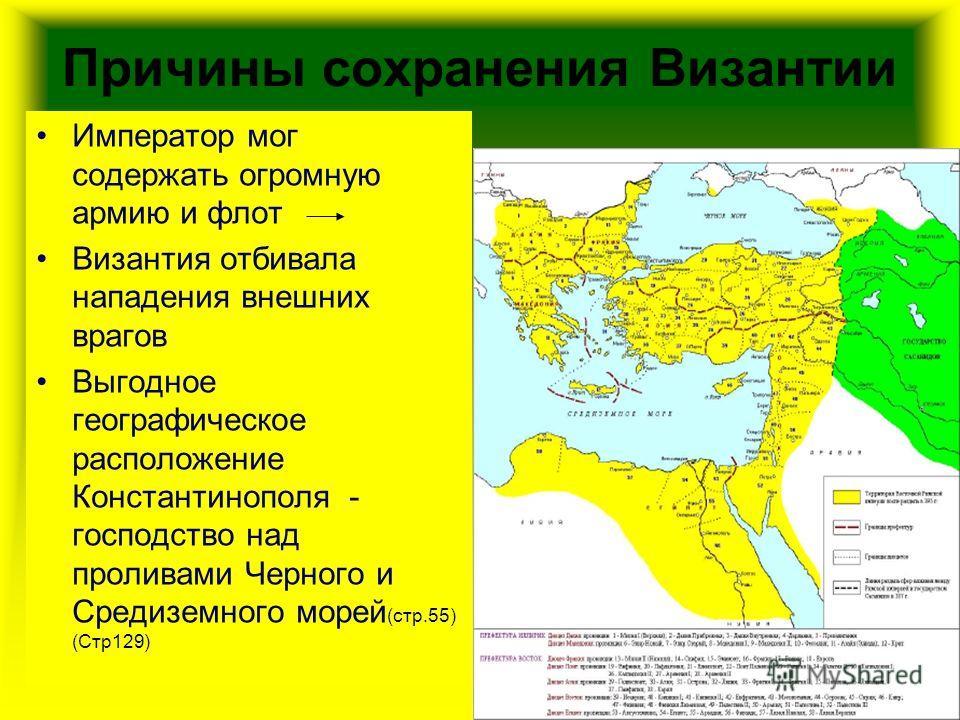 Причины сохранения Византии Император мог содержать огромную армию и флот Византия отбивала нападения внешних врагов Выгодное географическое расположение Константинополя - господство над проливами Черного и Средиземного морей (стр.55) (Стр129)