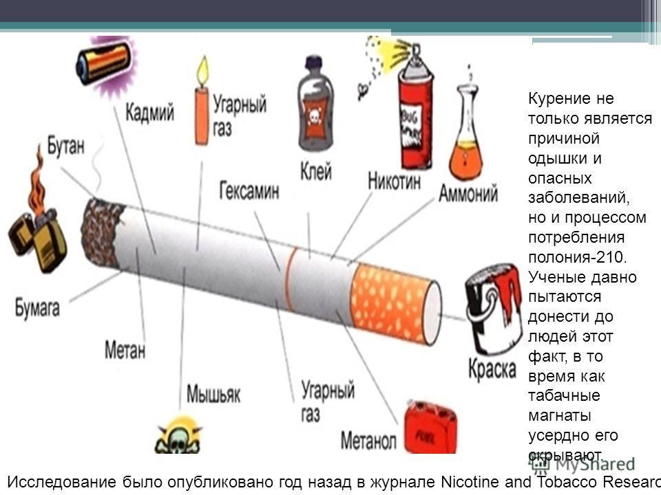 Курение не только является причиной одышки и опасных заболеваний, но и процессом потребления полония-210. Ученые давно пытаются донести до людей этот факт, в то время как табачные магнаты усердно его скрывают. Исследование было опубликовано год назад
