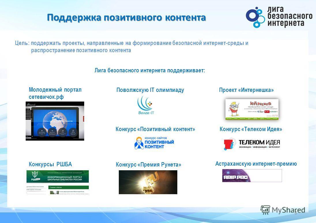 Поддержка позитивного контента 8 Цель: поддержать проекты, направленные на формирование безопасной интернет-среды и распространение позитивного контента Молодежный портал сетевичок.рф Проект «Интернешка» Поволжскую IT олимпиаду Лига безопасного интер