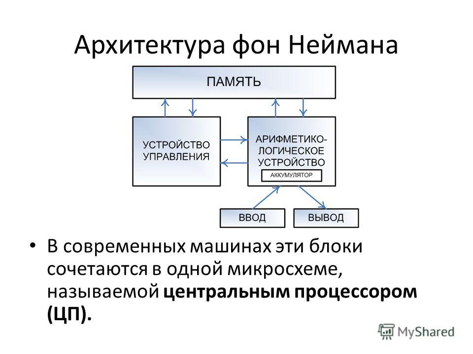 Архитектура фон Неймана В современных машинах эти блоки сочетаются в одной микросхеме, называемой центральным процессором (ЦП).