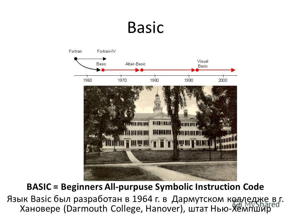Basic BASIC = Beginners All-purpuse Symbolic Instruction Code Язык Basic был разработан в 1964 г. в Дармутском колледже в г. Хановере (Darmouth College, Hanover), штат Нью-Хемпшир