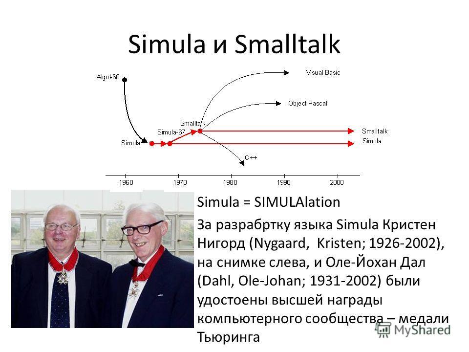 Simula и Smalltalk Simula = SIMULAlation За разрабртку языка Simula Кристен Нигорд (Nygaard, Kristen; 1926-2002), на снимке слева, и Оле-Йохан Дал (Dahl, Ole-Johan; 1931-2002) были удостоены высшей награды компьютерного сообщества – медали Тьюринга
