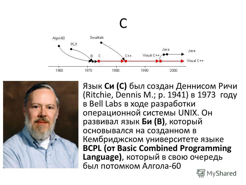 C Язык Си (С) был создан Деннисом Ричи (Ritchie, Dennis M.; р. 1941) в 1973 году в Bell Labs в ходе разработки операционной системы UNIX. Он развивал язык Би (B), который основывался на созданном в Кембриджском университете языке BCPL (от Basic Combi