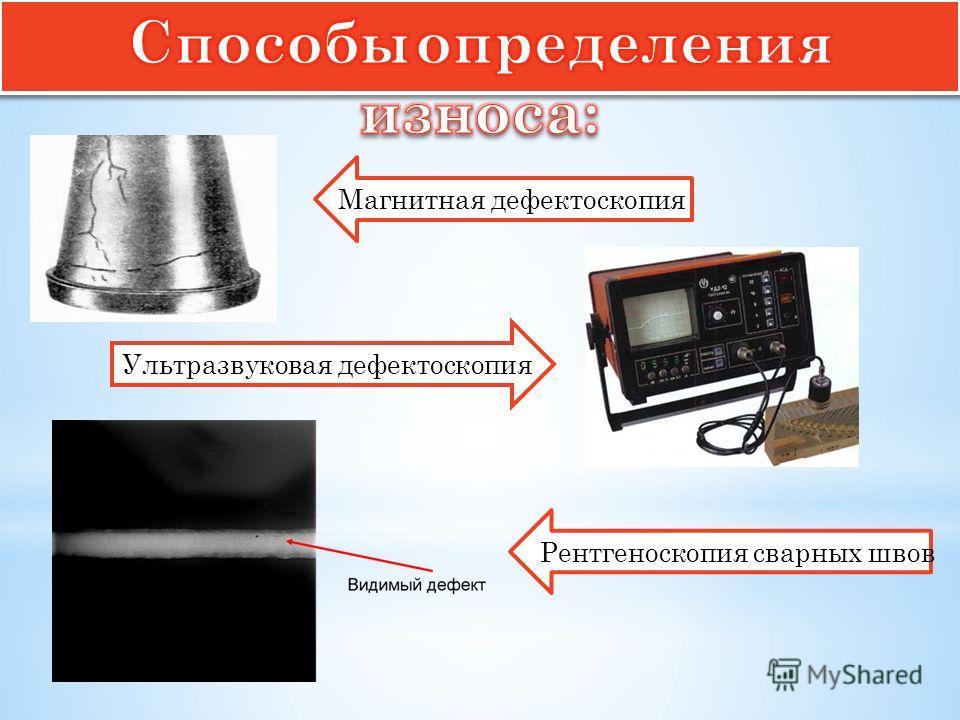 Магнитная дефектоскопия Ультразвуковая дефектоскопия Рентгеноскопия сварных швов