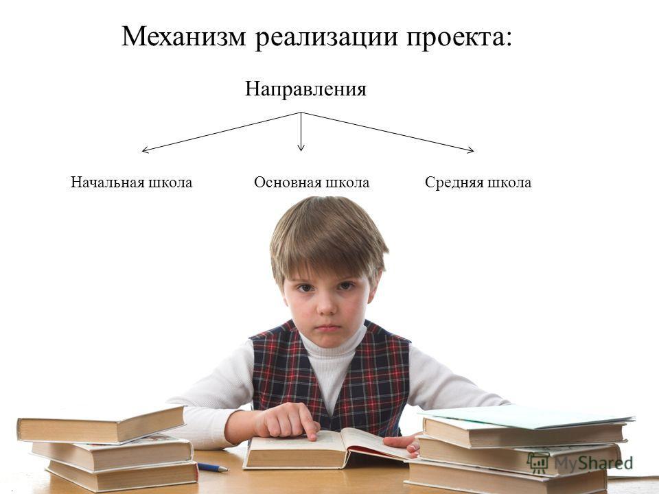 Механизм реализации проекта: Направления Начальная школа Основная школа Средняя школа