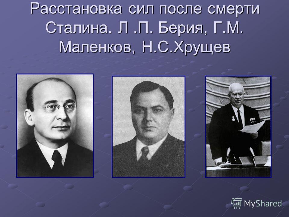 Расстановка сил после смерти Сталина. Л.П. Берия, Г.М. Маленков, Н.С.Хрущев