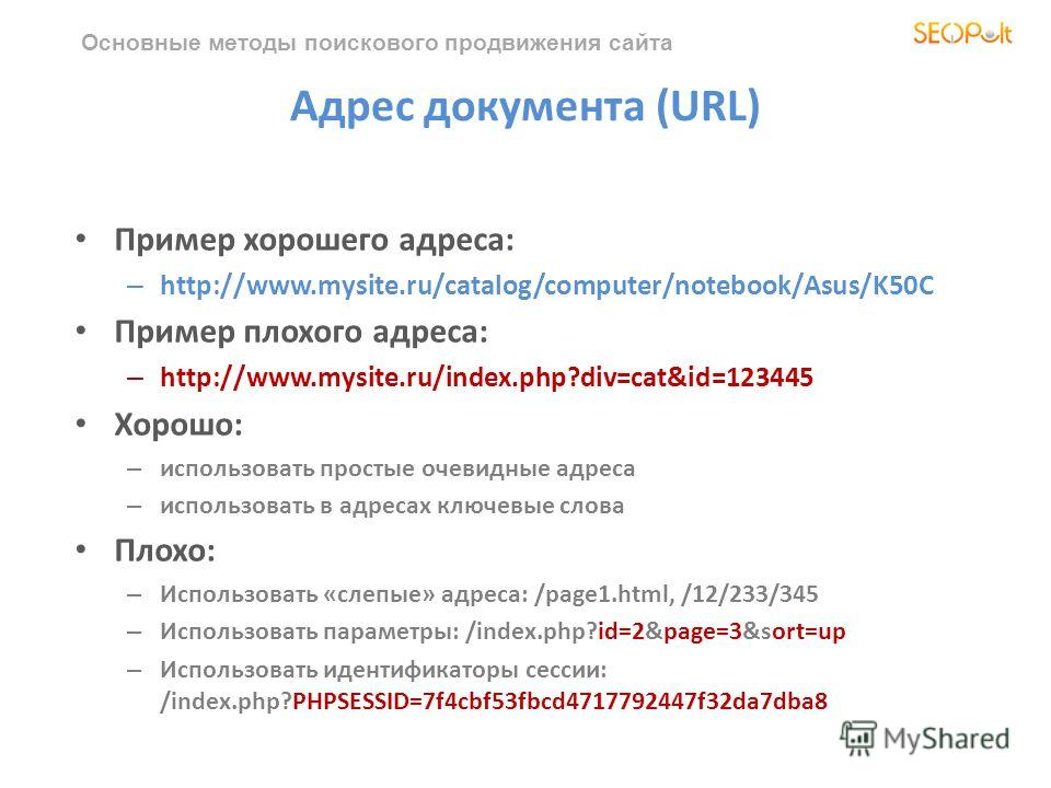Основные методы поискового продвижения сайта Адрес документа (URL) Пример хорошего адреса: – http://www.mysite.ru/catalog/computer/notebook/Asus/K50C Пример плохого адреса: – http://www.mysite.ru/index.php?div=cat&id=123445 Хорошо: – использовать про