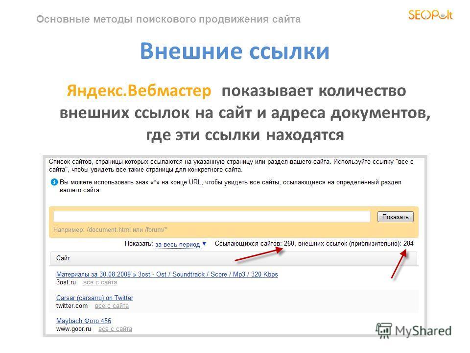 Основные методы поискового продвижения сайта Внешние ссылки Яндекс.Вебмастер показывает количество внешних ссылок на сайт и адреса документов, где эти ссылки находятся
