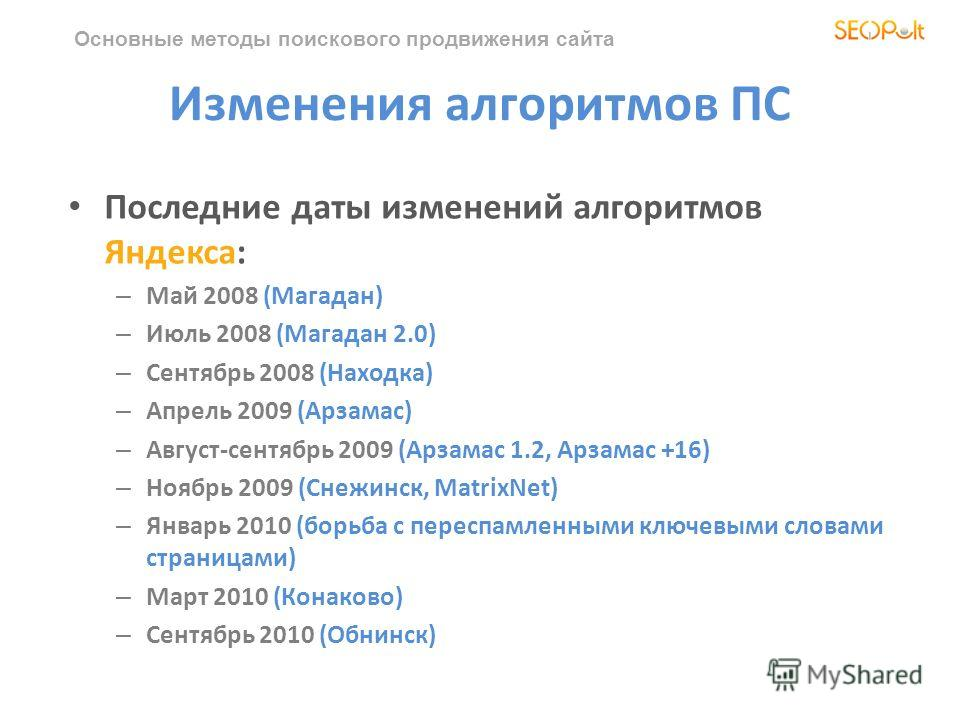 Основные методы поискового продвижения сайта Изменения алгоритмов ПС Последние даты изменений алгоритмов Яндекса: – Май 2008 (Магадан) – Июль 2008 (Магадан 2.0) – Сентябрь 2008 (Находка) – Апрель 2009 (Арзамас) – Август-сентябрь 2009 (Арзамас 1.2, Ар