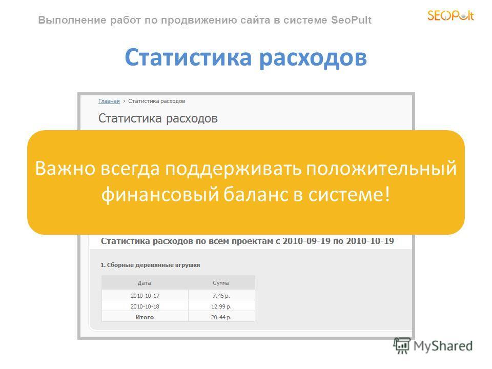 Выполнение работ по продвижению сайта в системе SeoPult Статистика расходов Важно всегда поддерживать положительный финансовый баланс в системе!
