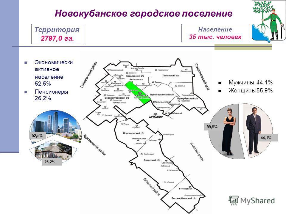 Экономически активное население 52,5% Пенсионеры 26,2% Мужчины 44,1% Женщины 55,9% Территория 2797,0 га. Население 35 тыс. человек Новокубанское городское поселение 52,5% 26,2% 55,9% 44,1%